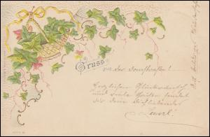 Präge-Ansichtskarte Gruss aus ... (Weinrebe im Korb), CÖLN 1.1.1899