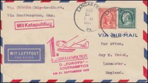 Katapultpost 1. Katapultflug S.S. EUROPA - SOUTHAMPTON 21.9.1930 - Haberer 32a