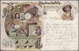 Ansichtskarte Gruss aus Serger's Räuberhöhle STRASSBURG 15.5.1898 nach Köln