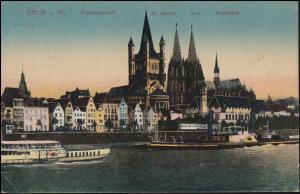 AK von Cöln: Frankenwerft St. Martin Dom Stapelhaus, CÖLN-MÜLHEIM 23.11.1918