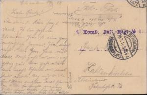 Feldpost 4 Kompanie Infanterie-Regiment 106 ELSENBORN-ÜBUNGSPLATZ 20.7.17 auf AK