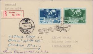 Sowjetunion 1459-1460 PTT-Kongress auf R-Postkarte MOSKAU 6.7.1954 nach Berlin