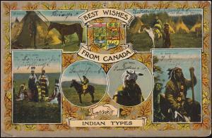 Ansichtskarte British Columbia Indianer-Stämme, aus HAGAN nach Horbach