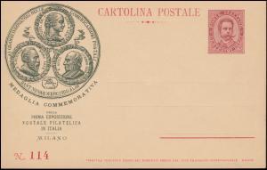 Postkarte Humbert: Gedenkmedaille der 1. Postausstellung in Italien, ungebraucht