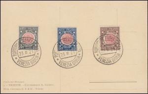 Italien 138-140 Angliederung-Satz auf AK mit SSt PORTOROSE CONFERENZA 23.11.1921