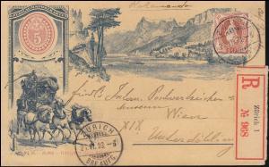 Halbamtliche Sonderpostkarte 1. Briefmarkenausstellung 1893 in Zürich, 26.6.1893