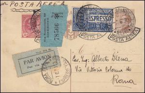 Italien Postkarte P 72 mit Zusatzfr. 247ff SSt MILANO Philateliekongress 7.6.30