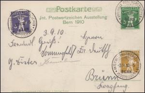Schweiz Postwertzeichen-Ausstellung Bern 1910 Sonderganzsache SSt BERN 3.9.10
