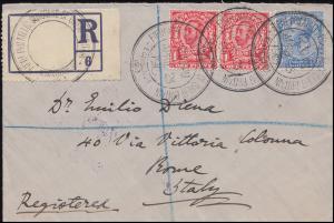 Großbritannien 5. Philateliekongress EDINBURGH 23.4.1913 R-Brief nach ROM 26.4.