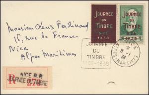Frankreich 351 im Paar mit Aufdruck JOURNEE du TIMBRE auf R-AK NICE 9.1.1938