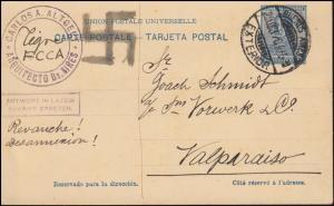 Argentinien Ganzsache Postkarte 5 Cent. BUENOS AIRES 29.10.1920 nach Valparaiso