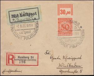 342W OR Korbdeckel EF LP-R-Brief Sonder-R-Zettel Ausstellung SSt HAMBURG 7.8.25