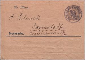 Württemberg PS 2 Streifband Die Briefmarke ESSLINGEN-BAHNHOF 8.12.97 n.Darmstadt
