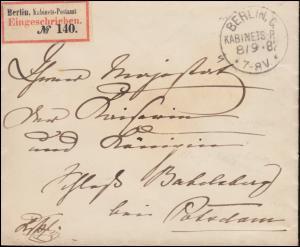 Reichssache R-Brief BERLIN KABINETS-POSTAMT 8.9.1887 nach Babelsberg / Potsdam