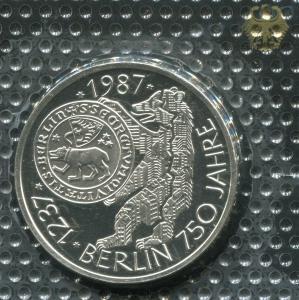 Gedenkmünze 750 Jahre Berlin 10 DM von 1987, PP polierte Platte