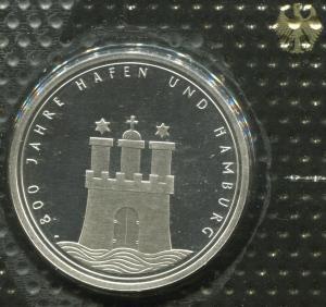 Gedenkmünze Hamburger Hafen 10 DM von 1989, PP polierte Platte
