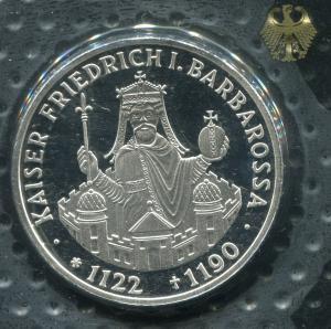 Gedenkmünze Kaiser Friedrich I. 10 DM von 1990, PP polierte Platte