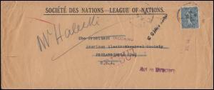 Frankreich 143 Säerin mit Sonne EF auf Brief vom Völkerbund in die USA 1923