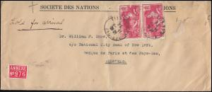 Frankreich 170 Olympia Siegesgöttin Nike MeF Brief Völkberbund PARIS 14.8.1424