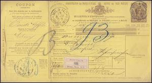 Italien Paketkarte AP 9 König Humbert I. 1,75 L. MILANO 13.3.1891 nach ELBERFELD