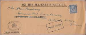 1. Weltkrieg WAR OFFICE - ON HIS MAJESTY'S SERVICE Brief FINSBURY nach Italien