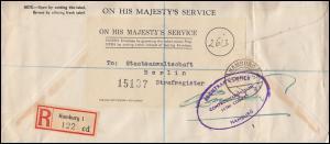 Englische Feldpost ON HIS MAJESTY'S SERVICE R-Brief HAMBURG 15.9.50 nach BERLIN