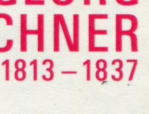 3031I Georg Büchner: schwarzer Strich und schwarzer Punkt unter 1837, Feld 5, **