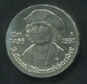 Gedenkmünze Tilman Riemenschneider 5 Mark von 1981, vorzügliche Erhaltung