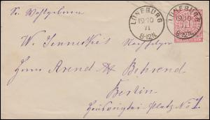Norddeutscher Bund U 1Aa Ziffer 1 Groschen LÜNEBURG 19.10.71 nach BERLIN 20.10.