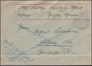 Deutsche Dienstpost Ostland Riga Brief RIGA 5.12.1941 nach Leipzig