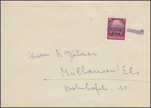 Elsaß 7 Hindenburg 15 Pf mit Aufdruck auf Brief mit Landpost-Stempel Vernoy