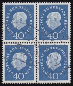 185 Heuss im Viererblock, senkrecht gefaltet, Bedarfs-O Mönchengladbach 17.8.60
