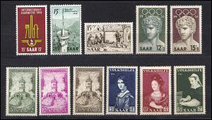 368-378 Saarland: Jahrgang 1956 kpl. **