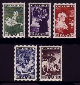 309-313 Volkshilfe 1951, 5 Werte, Satz postfrisch **