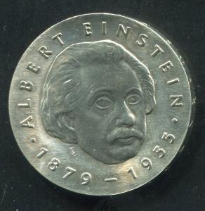 Gedenkmünze Albert Einstein 5 Mark von 1979, vorzügliche Erhaltung