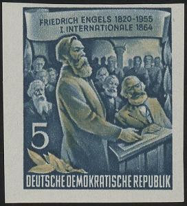 485B YII Friedrich Engels 5 Pf Wz.2 YII, UNGEZÄHNT, **
