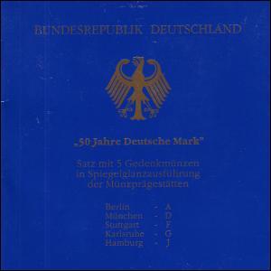 50 Jahre Deutsche Mark - amtlicher Folder, 5 Prägestätten Silber PP komplett