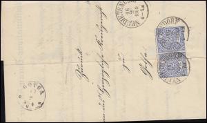 Norddeutscher Bund 5 Freimarke im Paar Brief NEUDIETENDORF 16.2.1869 nach GOTHA