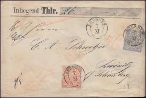 Norddeutscher Bund 3+5 Freimarken auf Wertbrief über 26 Thaler DRESDEN 7.11.1871