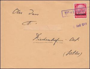 Landpost-Stempel Waldwiesen auf Brief Hindenburg-Aufdruck EF Einzeiler 6.4.1941