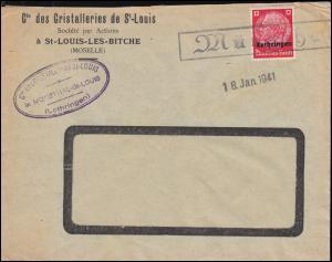 Landpost-Stempel Münzthal auf Brief Hindenburg-Aufdruck EF Einzeiler 18.1.1941