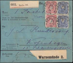 41+42 Freimarken PFENNIG auf Paketkarte BERLIN 3.8.89 nach KOPENHAGEN 5.8.