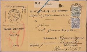 41a+42a+44a Freimarken PFENNIG MiF Auslandspaketkarte SCHWELM 17.12.84 BPP-gepr.