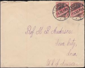 47 Adler 10 Pf. MeF auf USA-Auslandsbrief LEIPZIG 7.5.91 nach IOWA CITY 18.5.91