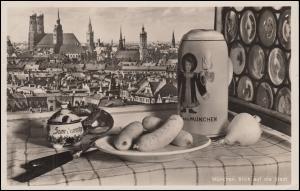 Ansichtskarte München - Blick auf die Stadt mit typischem Menü, 25.7.1935