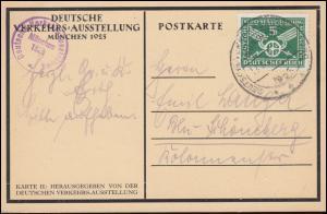 370 Verkehrsausstellung auf passender Karte mit SSt MÜNCHEN Ausstellung 17.8.25