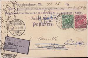 46+47 Krone/Adler Nachnahme-Postkarte NEUSTADT/SA. 20.5.95 nach NEURUPPIN 21.5.