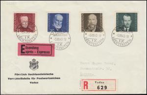 214-217 Fürsten von Liechtestein Satz auf  Eil-R-FDC ESSt VADUZ 5.7.1943
