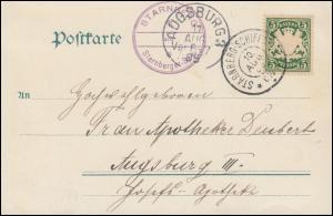 STARNBERG-SCHIFFSPOST C 10 - 10.8.1905 auf AK Starnberger See n. AUGSBURG 11.8.