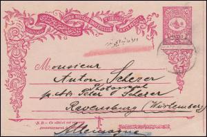 Türkei Postkarte P 20 Tughra-Zeichnung 28.12.1909 nach Ravensburg/Württemberg